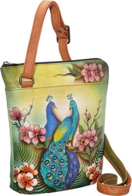 Anuschka Two Sided Zip Travel Organizer Crossbody Passionate Peacocks - Anuschka Leather Handbags