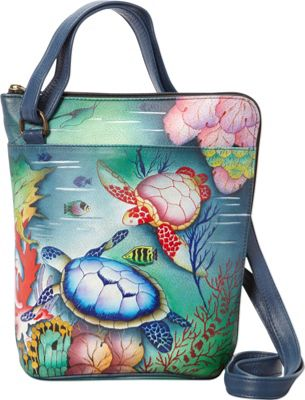 Anuschka Two Sided Zip Travel Organizer Crossbody Ocean Treasures - Anuschka Leather Handbags