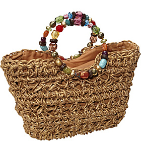 Maize Straw Bag With Beaded Handle GOLD