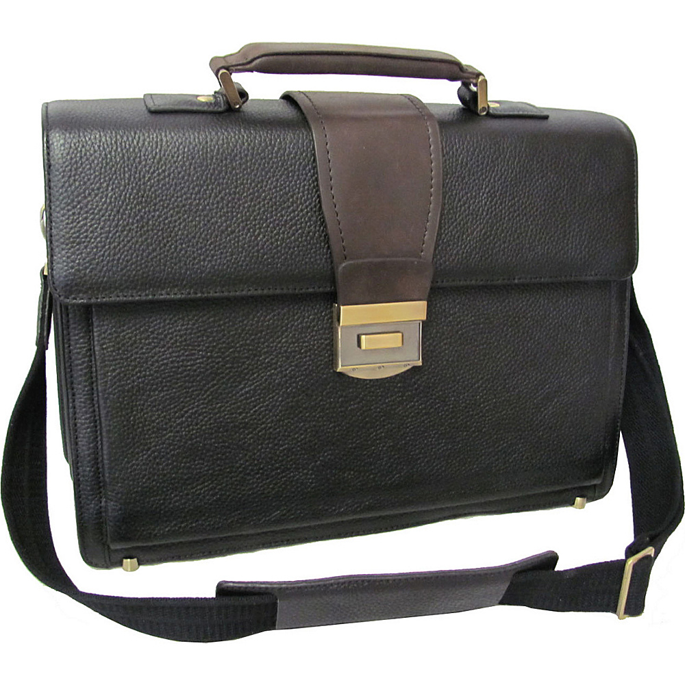 AmeriLeather Two-Tone Charisma Laptop Briefcase - Black - Work Bags & Briefcases, Non-Wheeled Business Cases