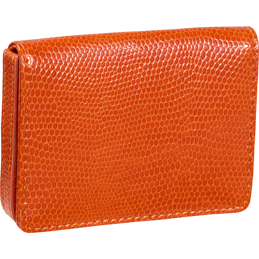 Budd Leather Business Card Case Oversized Tangerine