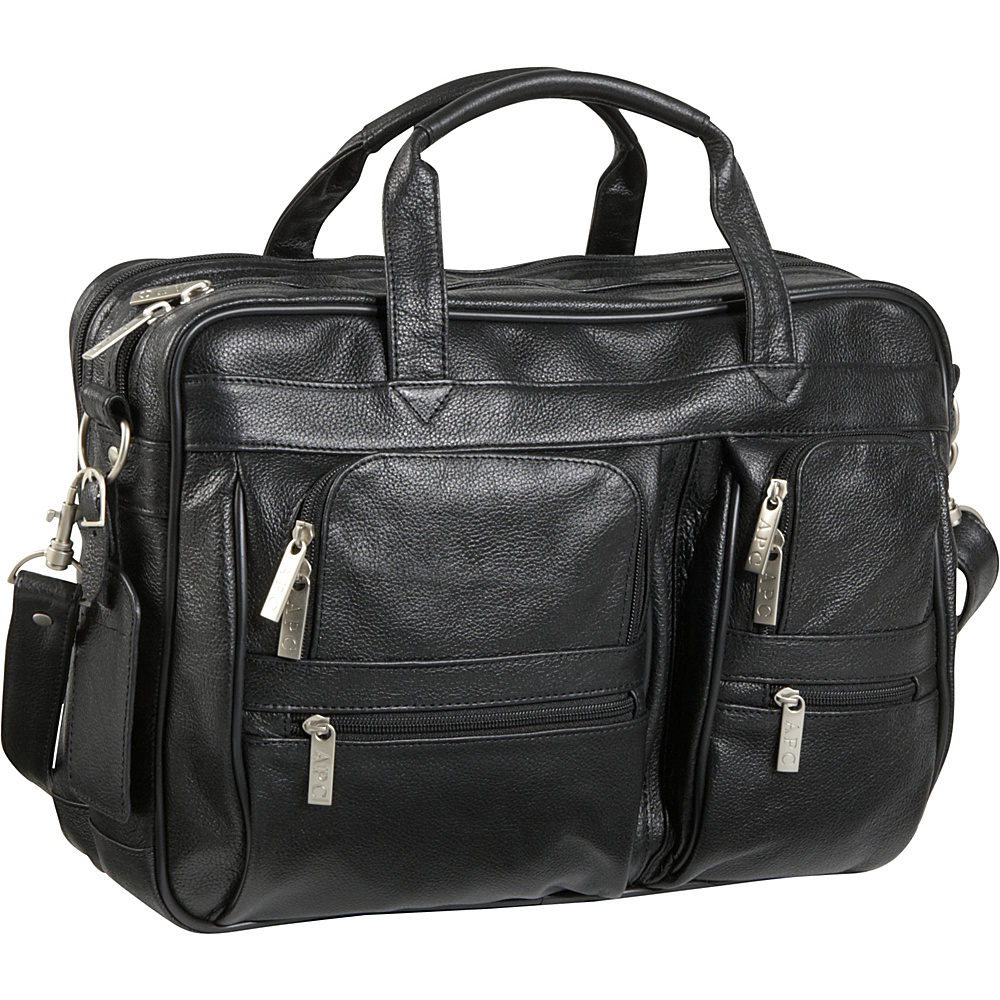 AmeriLeather Leather Business Briefcase - Black - Work Bags & Briefcases, Non-Wheeled Business Cases