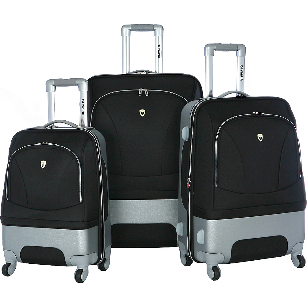 Olympia USA Majestic 3 Piece Exp. Luggage Set Black - Olympia USA Luggage Sets