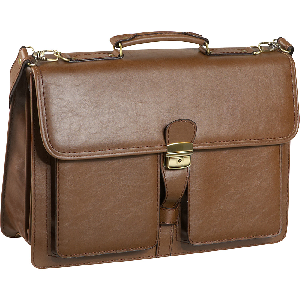 AmeriLeather Theodore Executive Briefcase - Brown - Work Bags & Briefcases, Non-Wheeled Business Cases