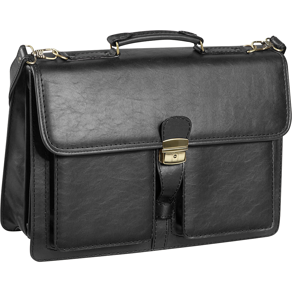AmeriLeather Theodore Executive Briefcase - Black - Work Bags & Briefcases, Non-Wheeled Business Cases
