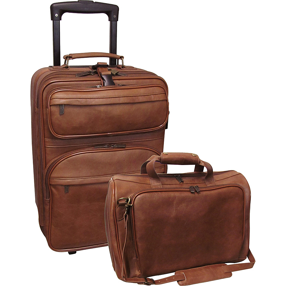 AmeriLeather Leather 2 Pc. Carry-on Luggage Set - Brown - Luggage, Luggage Sets