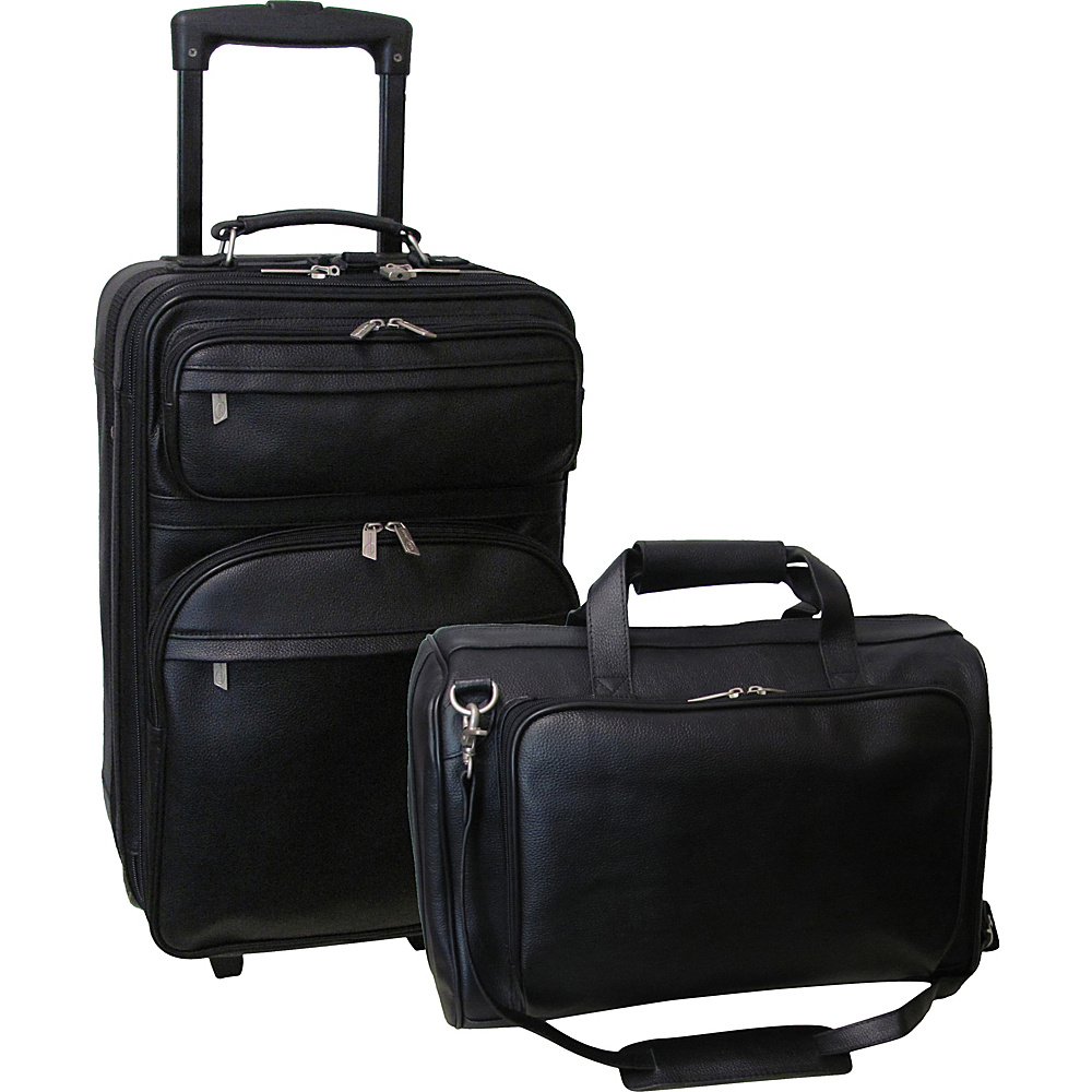 AmeriLeather Leather 2 Pc. Carry-On Set Black - AmeriLeather Luggage Sets - Luggage, Luggage Sets