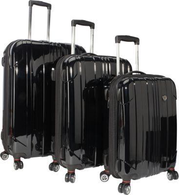 Traveler's Choice Sedona 3-Piece Hardside Spinner Set Black - Traveler's Choice Hardside Luggage