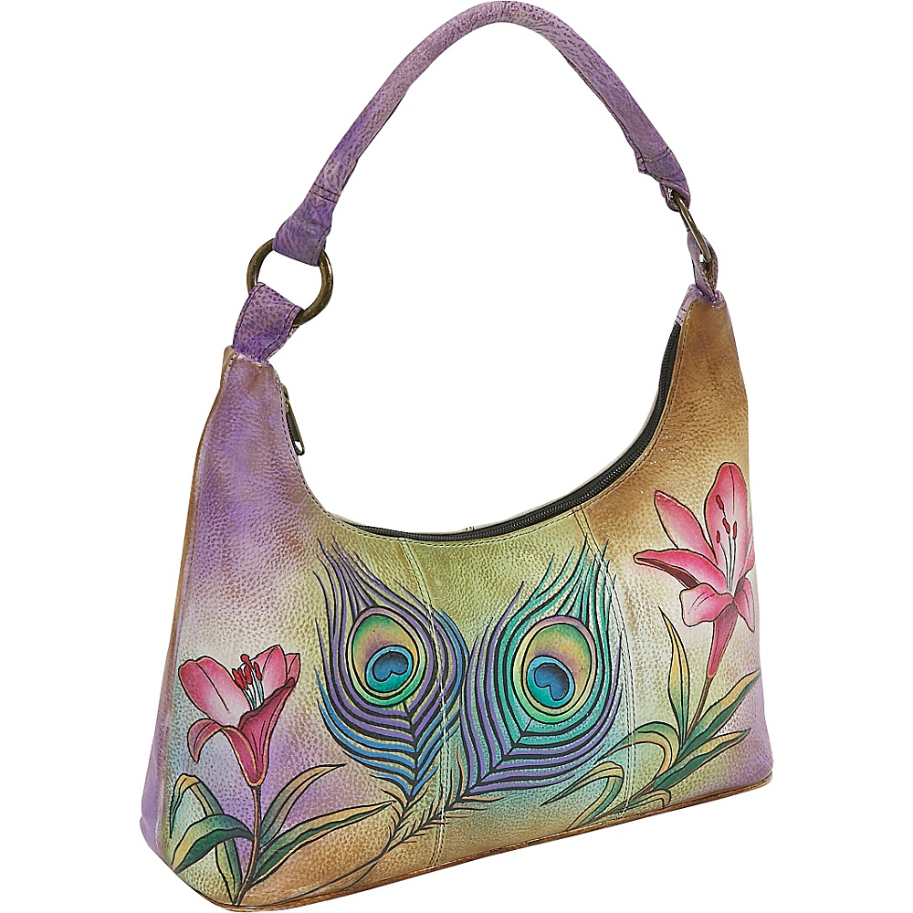 Anuschka Contemporary Hobo Premium Peacock Flower Anuschka Leather Handbags