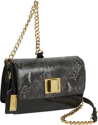 Badgley Mischka Jill Snake Embossed Turnlock Flap Bag