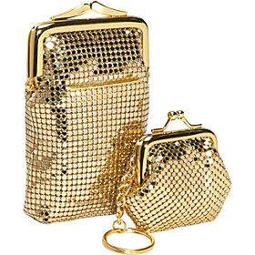 Classic Cigarette Case and Coin Pouch Key Ring Gold