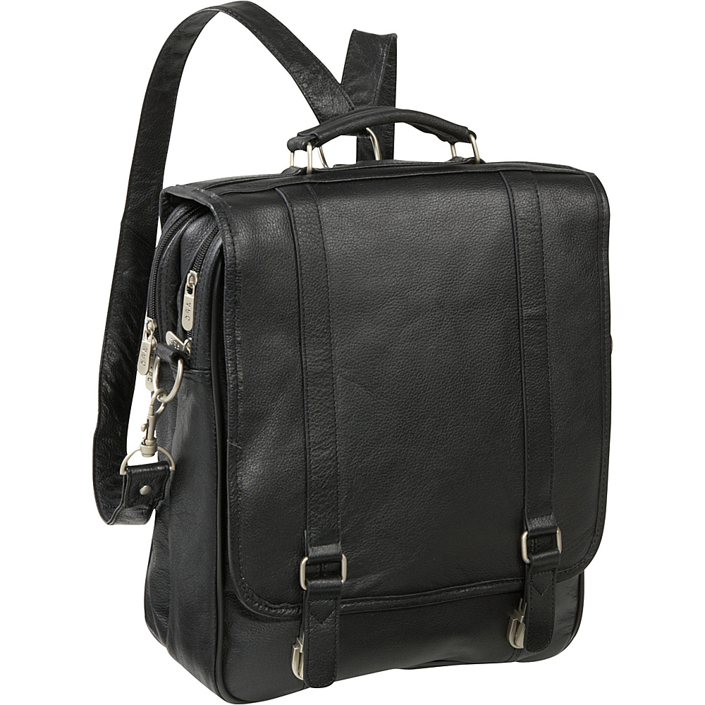AmeriLeather Leather Laptop Backpack Briefcase - Black