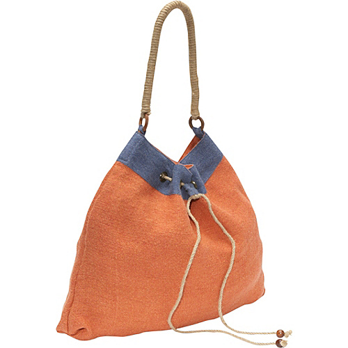 Earth Axxessories Jute Drawstring Tote Orange-Blue - Earth Axxessories Fabric Handbags