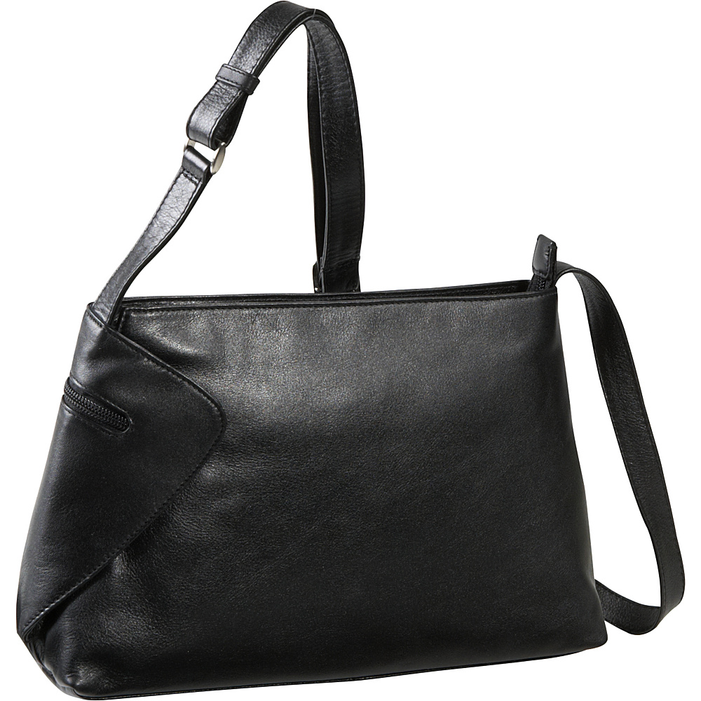 Derek Alexander EW Top Zip With Gusset Detail - Black - Handbags, Leather Handbags