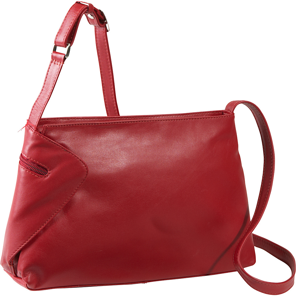 Derek Alexander EW Top Zip With Gusset Detail - Red - Handbags, Leather Handbags