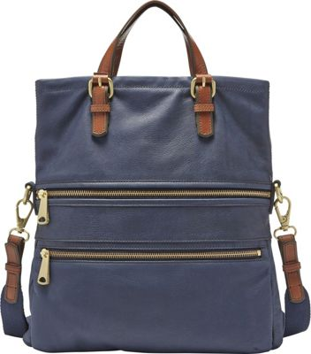 Fossil Explorer Tote Midnight Navy - Fossil Leather Handbags