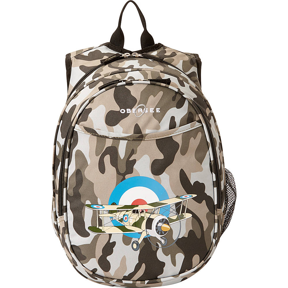 Obersee Kids Pre School Plane Backpack with Integrated Lunch Cooler Camo Airplane Obersee Everyday Backpacks