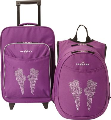 Obersee Kids Angel Wings Luggage and Backpack Set With Integrated Cooler Purple Bling Rhinestone Angel Wings - Obersee Softside Carry-On