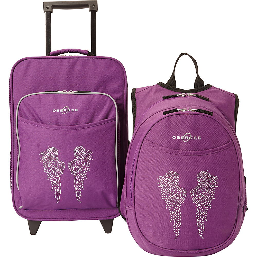 Obersee Kids Angel Wings Luggage and Backpack Set With Integrated Cooler Purple Bling Rhinestone Angel Wings Obersee Softside Carry On