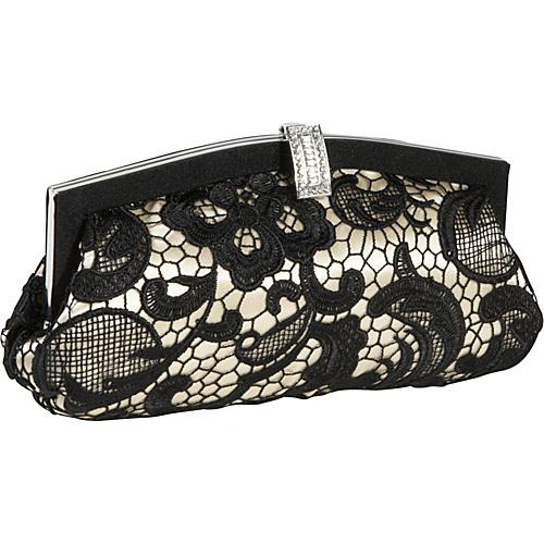Jessica McClintock Lace Over Satin Clutch Black - Jessica McClintock Evening Bags