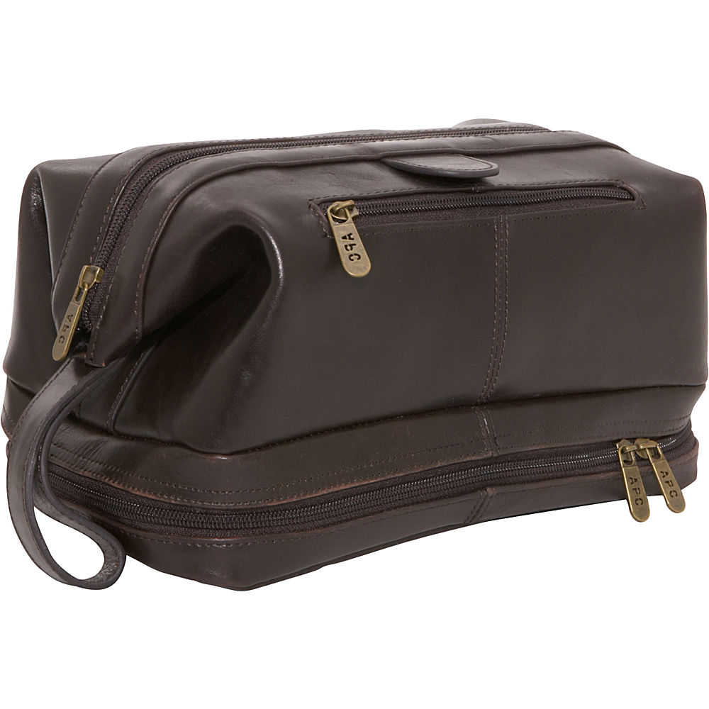 AmeriLeather Leather Toiletry Bag - Dark Brown - Travel Accessories, Toiletry Kits