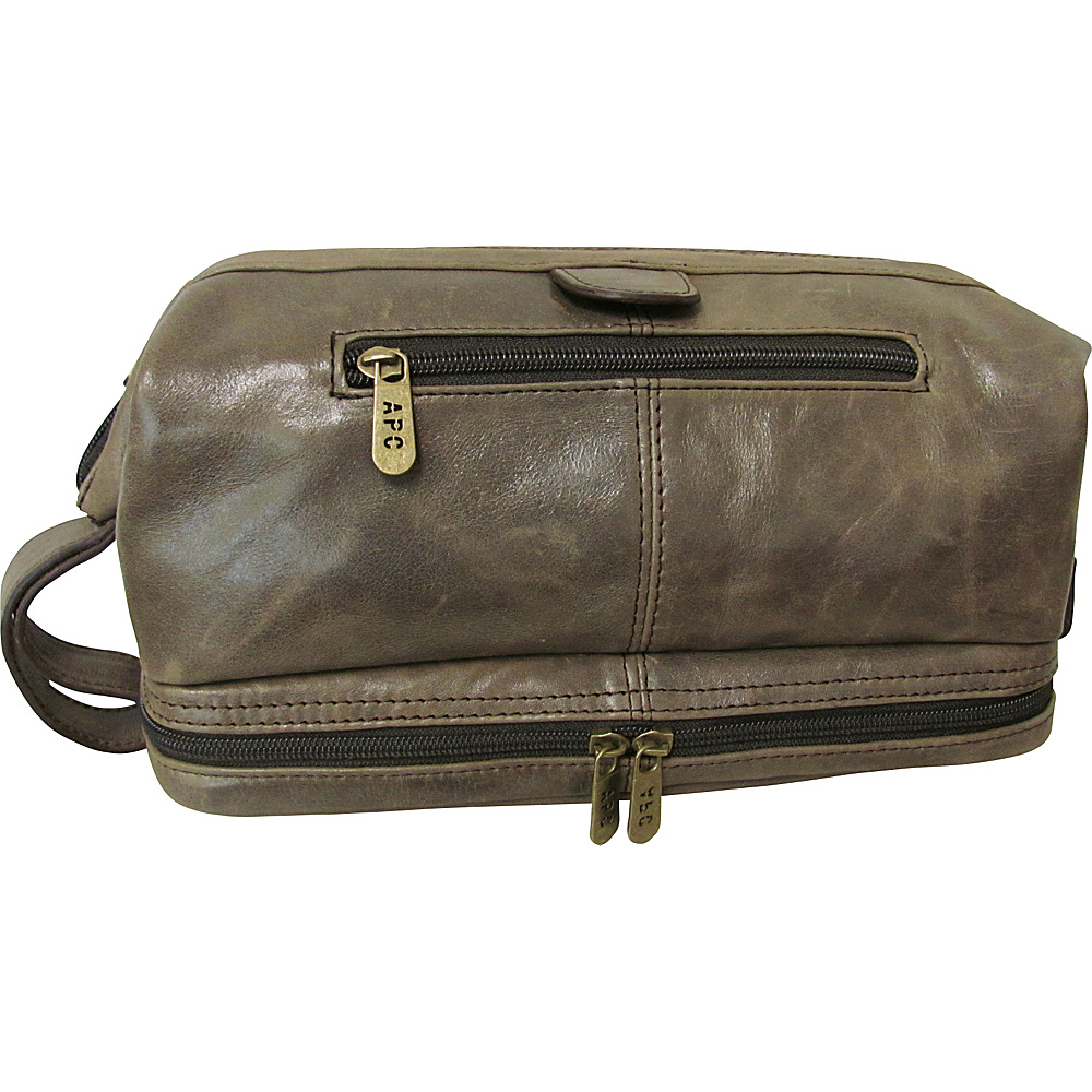 AmeriLeather Leather Toiletry Bag Cromwell Grey - AmeriLeather Toiletry Kits - Travel Accessories, Toiletry Kits