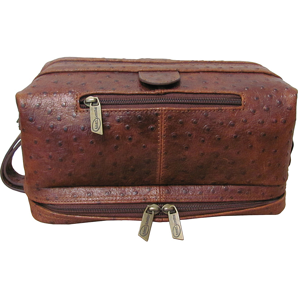 AmeriLeather Leather Toiletry Bag Ostrich Brown - AmeriLeather Toiletry Kits - Travel Accessories, Toiletry Kits
