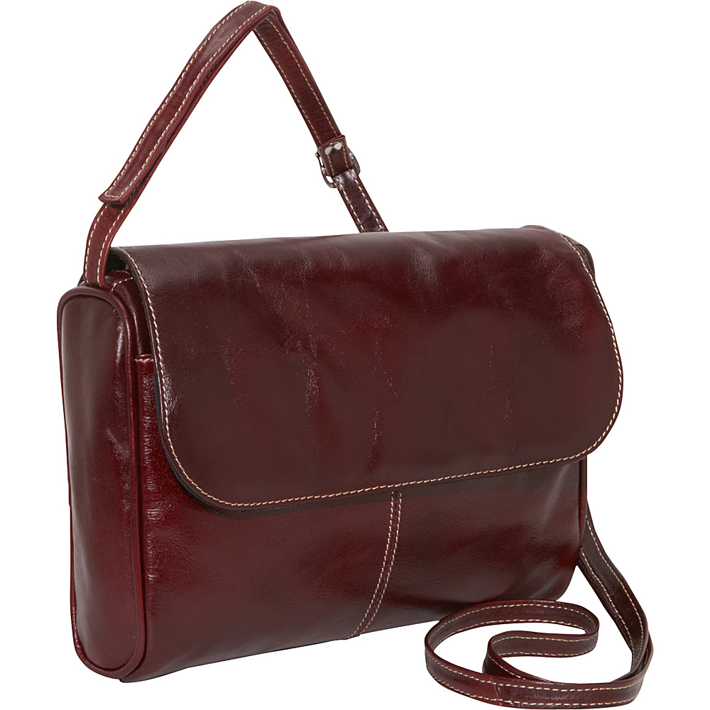 David King & Co. Florentine Flap Front Handbag Cherry - David King & Co. Leather Handbags - Handbags, Leather Handbags