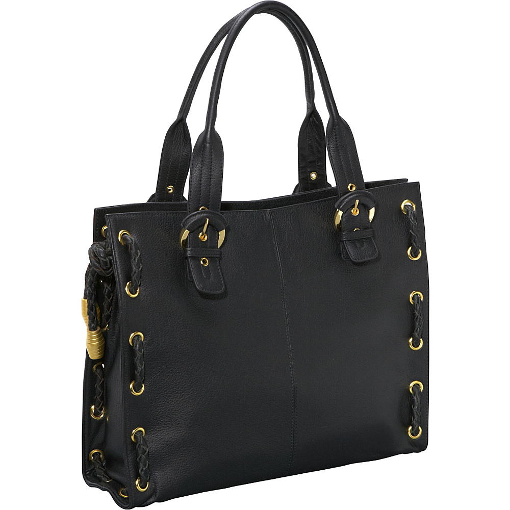 AmeriLeather Double Handle Tote - Black - Handbags, Leather Handbags