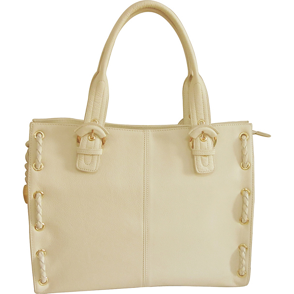 AmeriLeather Double Handle Tote Off White AmeriLeather Leather Handbags