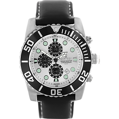 Sartego Men's Ocean Master Stainless Steel Chronograph Watch Leather Band Metalic Dial, Black Subdials, Black Bezel, Leather - Sartego Watches