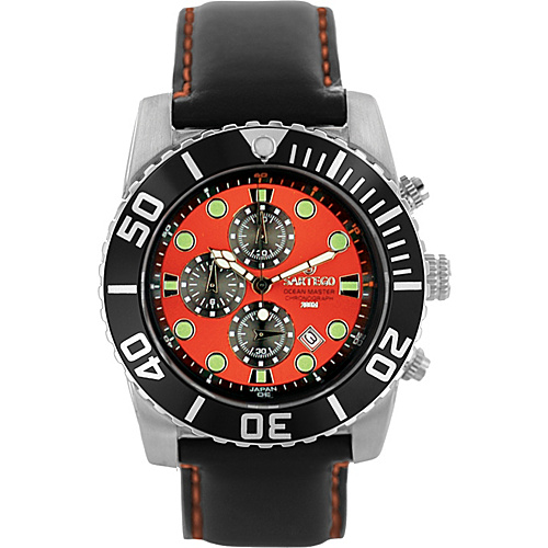 Sartego Men's Ocean Master Stainless Steel Chronograph Watch Leather Band Orange Dial, Black Subdials, Black Bezel, Leather - Sartego Watches