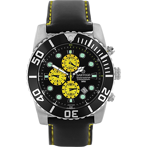 Sartego Men's Ocean Master Stainless Steel Chronograph Watch Leather Band Black Dial, Yellow Subdials, Black Bezel, Leather - Sartego Watches