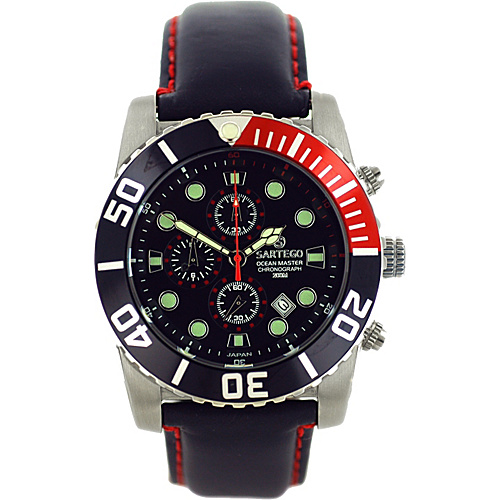 Sartego Men's Ocean Master Stainless Steel Chronograph Watch Leather Band Black Dial, Black Subdials, Black with Red Bezel, - Sartego Watches