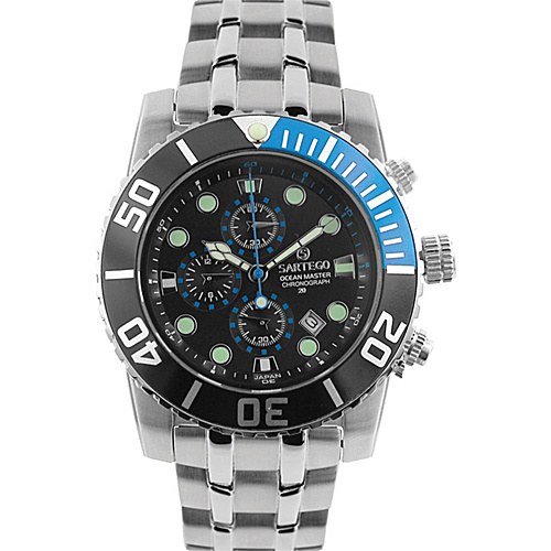 Sartego Men's Ocean Master Stainless Steel Chronograph Watch Leather Band Black Dial, Black Subdials, Black with Blue Bezel, - Sartego Watches