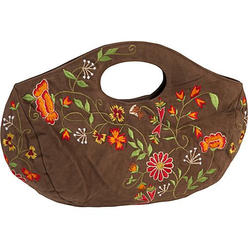 Moyna Handbags Embroidered Suede Bag Brown