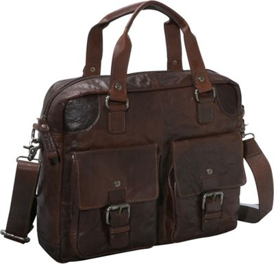 Jack Georges Spikes & Sparrow Collection Single Gusset Top Zip Briefcase Brown - Jack Georges Non-Wheeled Business Cases