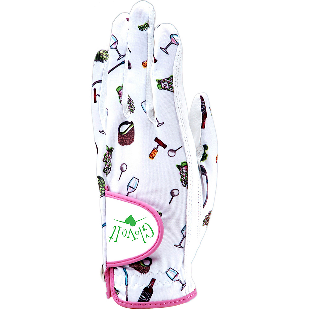 Glove It Nine and Wine Glove White and Pink Print Left Hand Med - Glove It Golf Bags