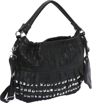 Amerileather Studded Tutu Leather Hobo Black - AmeriLeath...