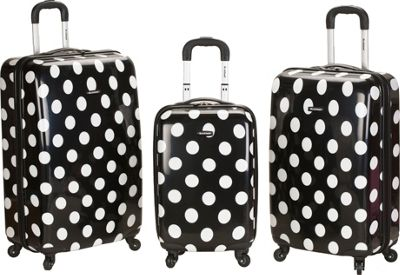 Rockland Luggage Laguna Beach 3 Piece Hardside Spinner Set Black Dot - Rockland Luggage Luggage Sets