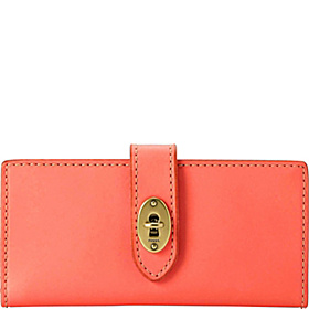 Austin Checkbook Clutch Hot Coral