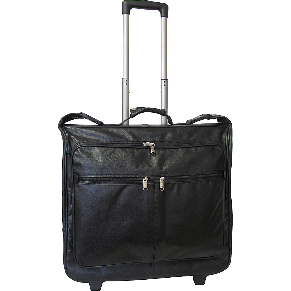 AmeriLeather Wheeled Leather Garment Bag Black - AmeriLeather Garment Bags