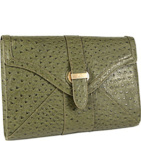 Pure Ostrich Tablet Clutch Moss