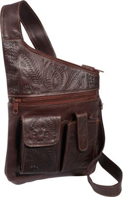 Ropin West Cross Over Crossbody Bag Brown - Ropin West Leather Handbags