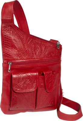 Ropin West Cross Over Crossbody Bag Red - Ropin West Leather Handbags