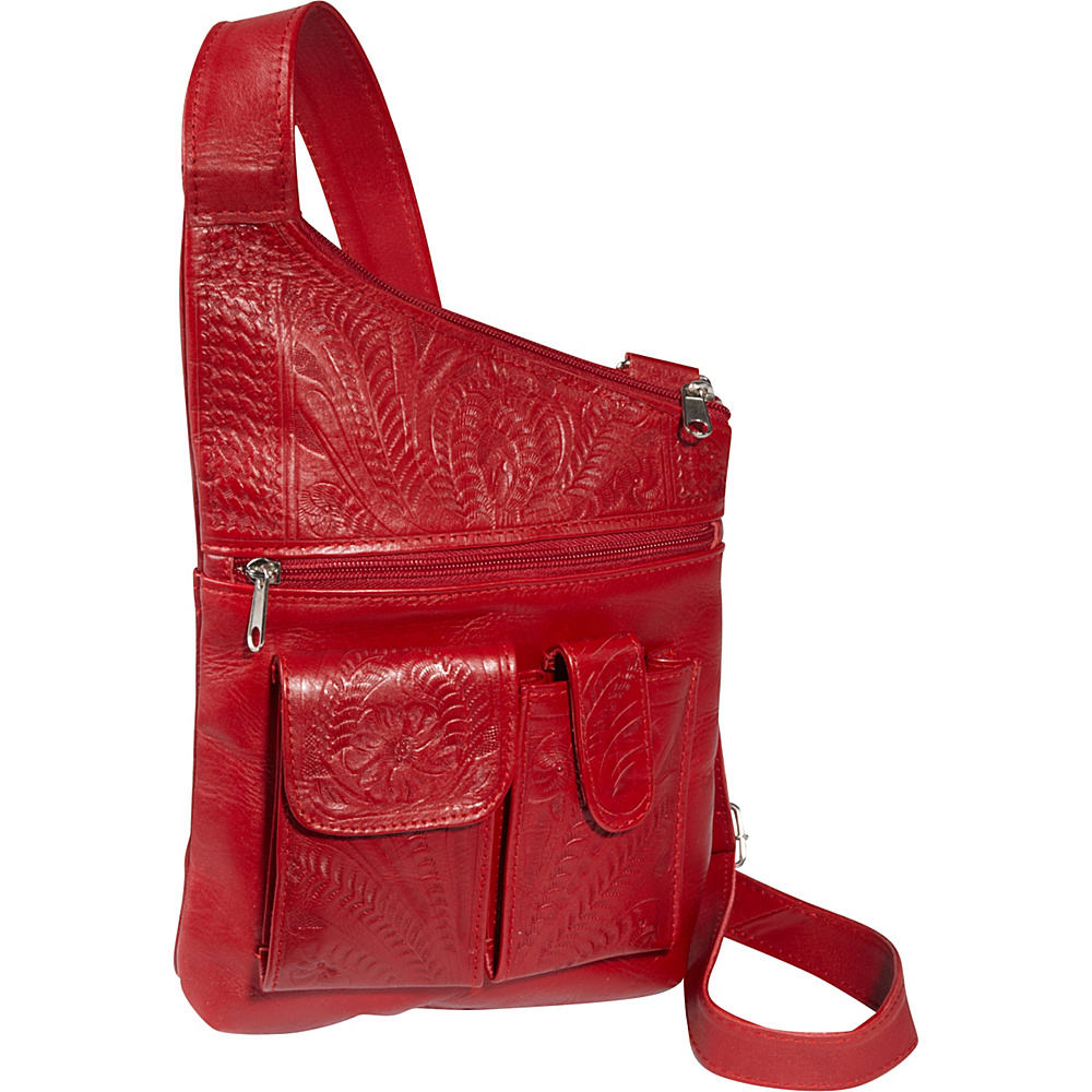 Ropin West Cross Over Crossbody Bag Red Ropin West Leather Handbags