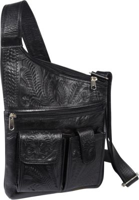 Ropin West Cross Over Crossbody Bag Black - Ropin West Leather Handbags