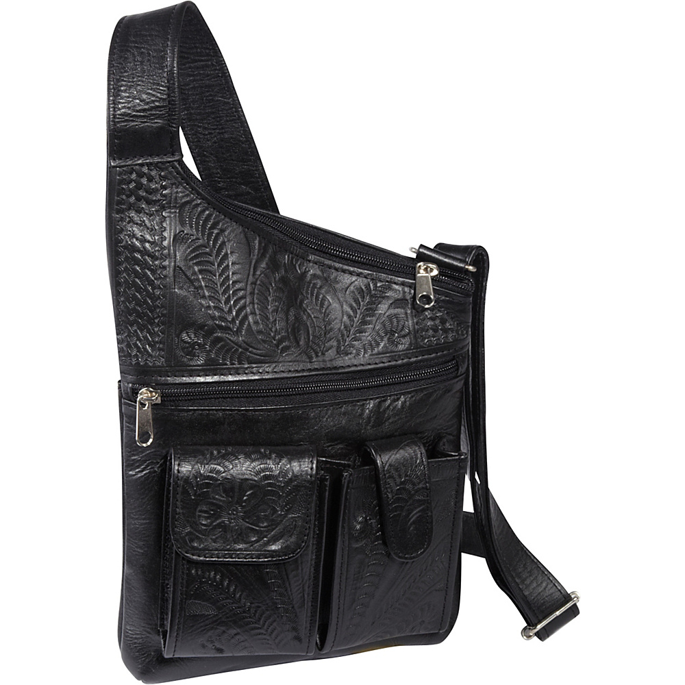 Ropin West Cross Over Crossbody Bag Black Ropin West Leather Handbags