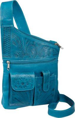 Ropin West Cross Over Crossbody Bag Turquoise - Ropin West Leather Handbags