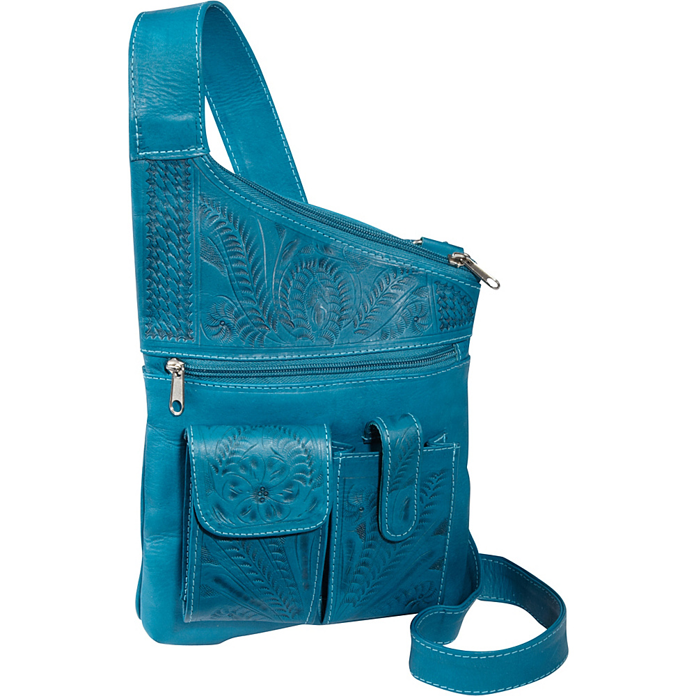 Ropin West Cross Over Crossbody Bag Turquoise Ropin West Leather Handbags